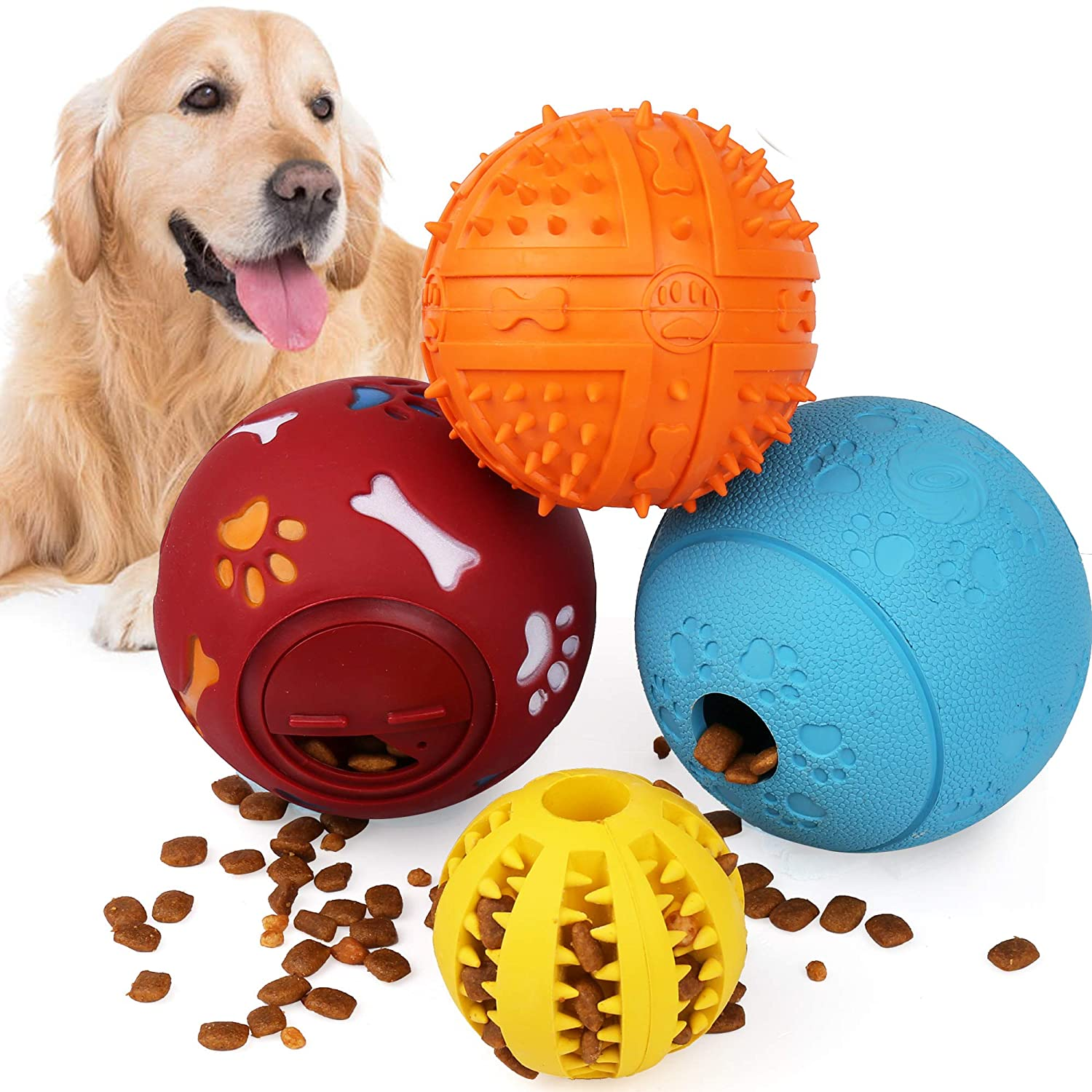 4Pack IQ Treat Ball, Interactive Food Dispensing Dog Toys, Dog Ball Toys, Dog Chew Puzzle Toys, Non-Toxic Natural Rubber Dog Chew Ball Toys for Tooth Cleaning, Chewing, Playing
