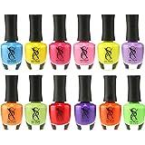SXC Cosmetics Nail Polish Set - 12 Neon Bright Shades, 15ml/0.5oz Full Size, Perfect Nail Lacquer Gift Set Regular Use & Nail Art Design