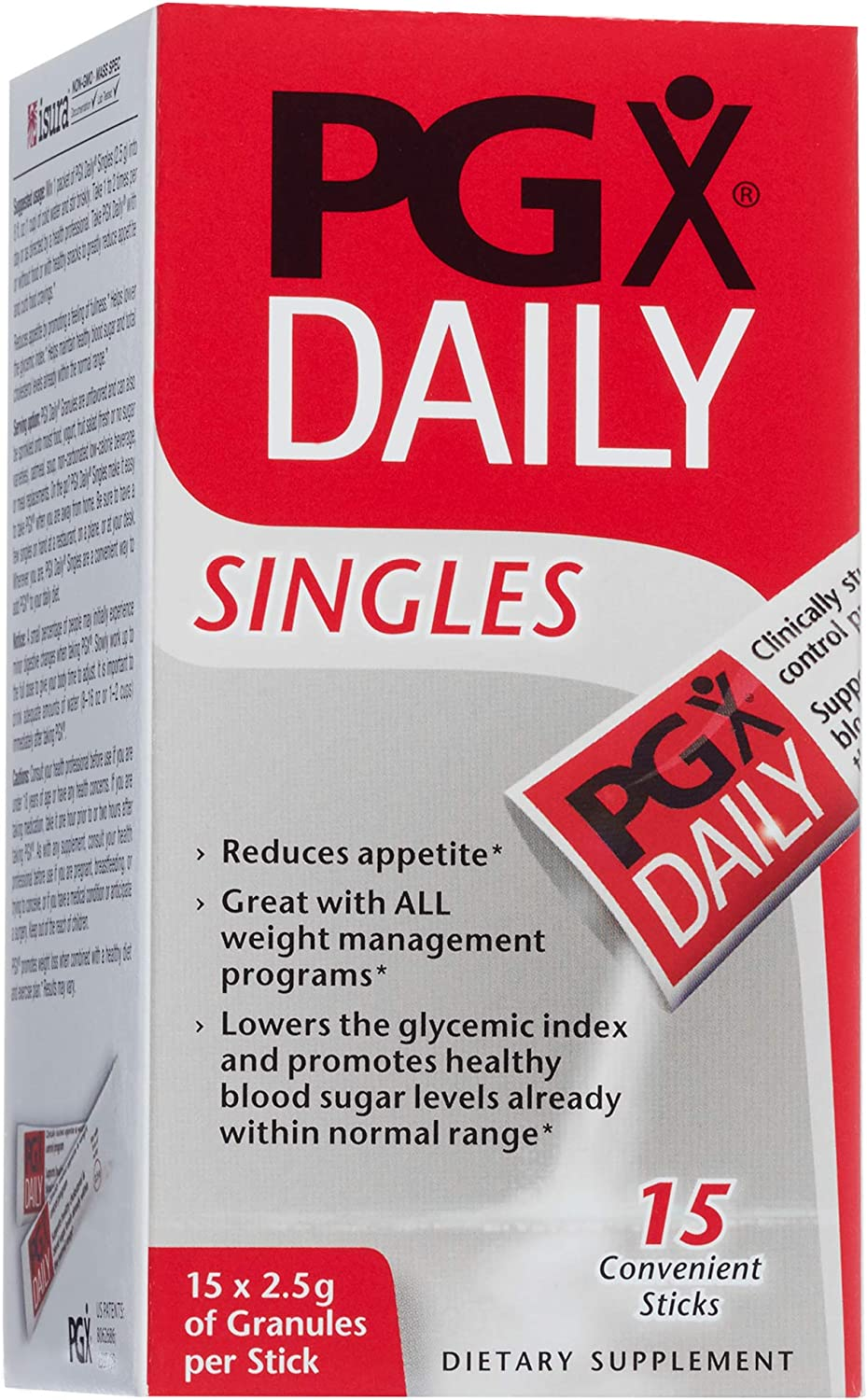 PGX by Natural Factors, Daily Singles for Healthy Weight Management, Plant-Based Dietary Supplement, 15 Individually Wrapped Sticks (2.5 g each)