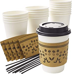 50Pk 12Oz Disposable Coffee Cup Set With Sleeves, Lids, and Stirrers. Recyclable White Paper Cup Bundle With Stylish Jacket Is Convenient for Business or Cafes to Serve Hot Beverages and Drinks To Go