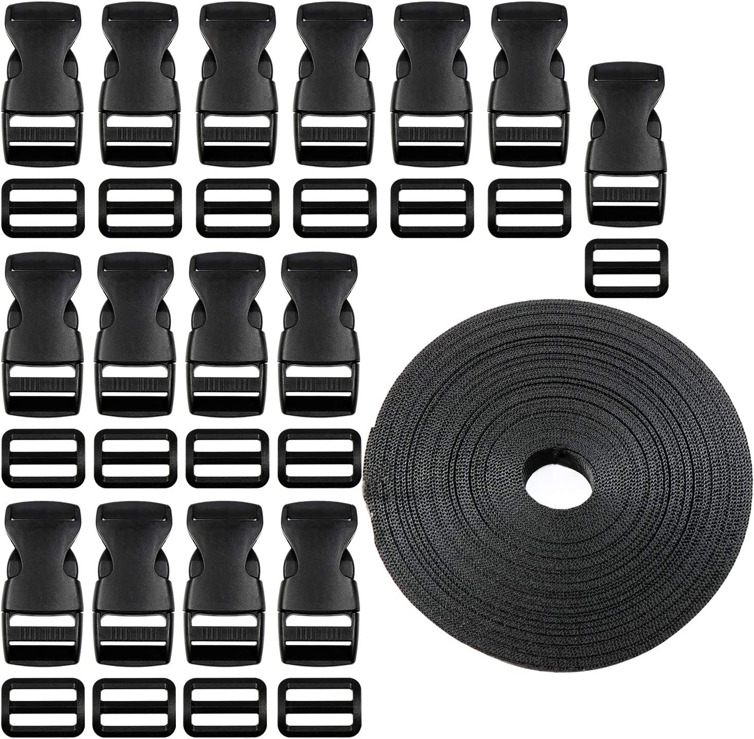 Plastic Buckle Kit with 10 Pack Side Release and Black Nylon Webbing Strap 1Inch