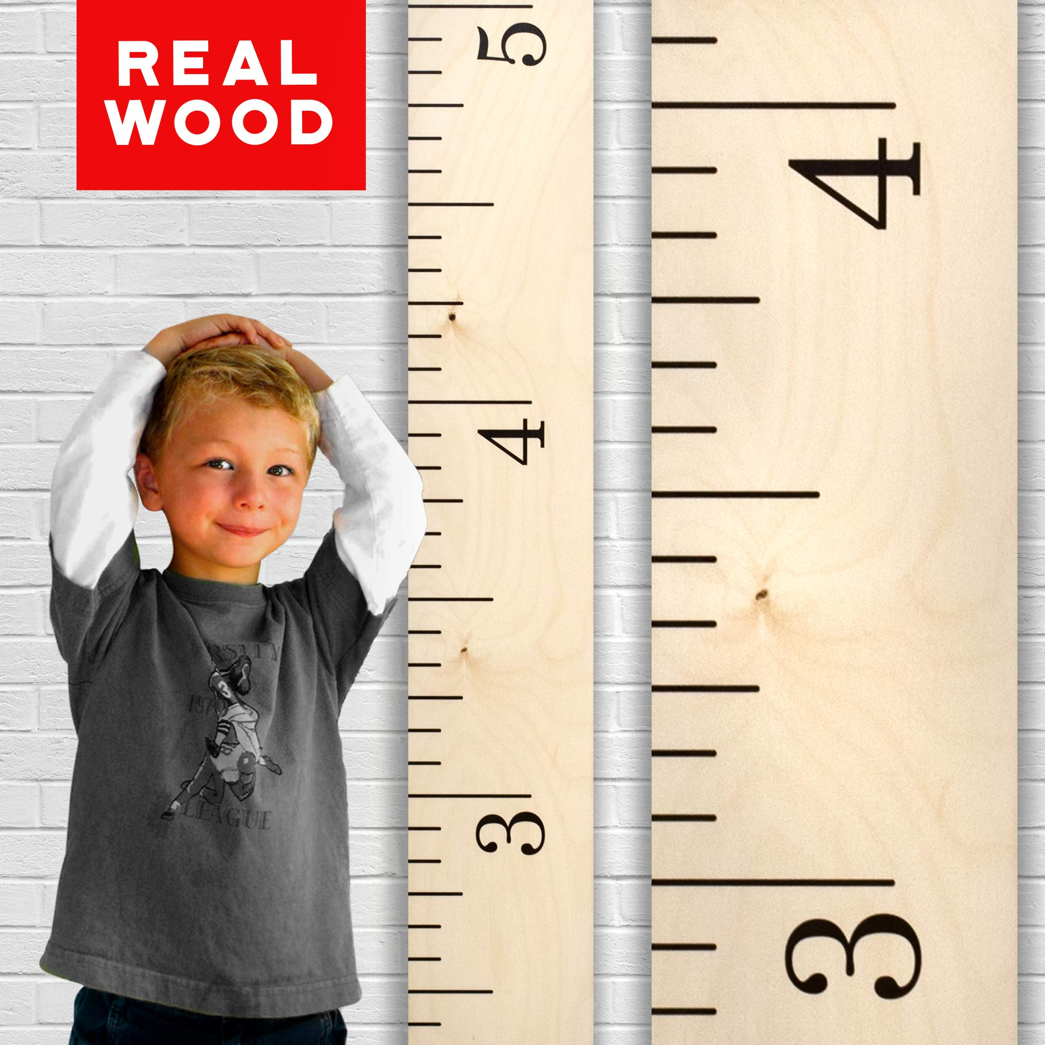 Growth Chart Art | Hanging Wooden Height Growth Chart to Measure Baby, Child, Grandchild - Naked Birch Classic Schoolhouse Ruler with Inches - Wall Decoration for Girls and Boys - 58''x5.75''