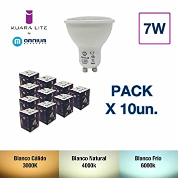 Kuara Lite by Omnium Electric Pack 10 Bombillas LED GU10, Driver multivoltaje 100-265V (50/60Hz) (Blanco Natural 7W) [Clase de eficiencia energética A+]: ...