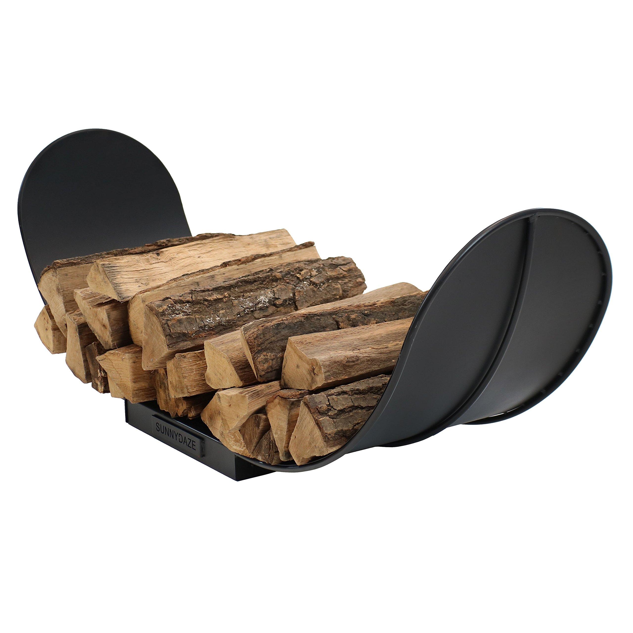 Sunnydaze Curved Black Steel Outdoor Firewood Log Rack, 4-Foot