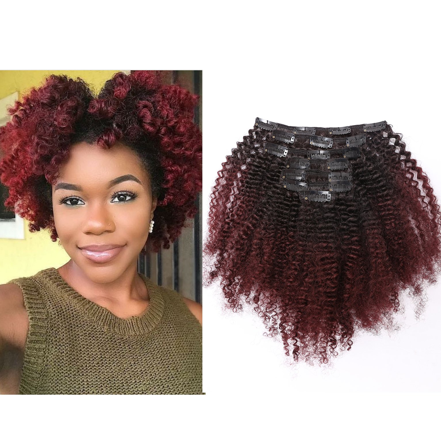 Amazon Ombre Remy Clip In Human Hair Extensions Afro Kinky
