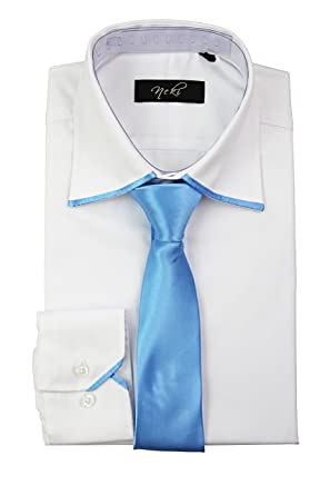 bae02c9544a9 By Neki Mens Silk Satin Tie Trim Shirt Formal Dress Shirt S M L XL 2XL 3XL  4XL: Amazon.co.uk: Clothing