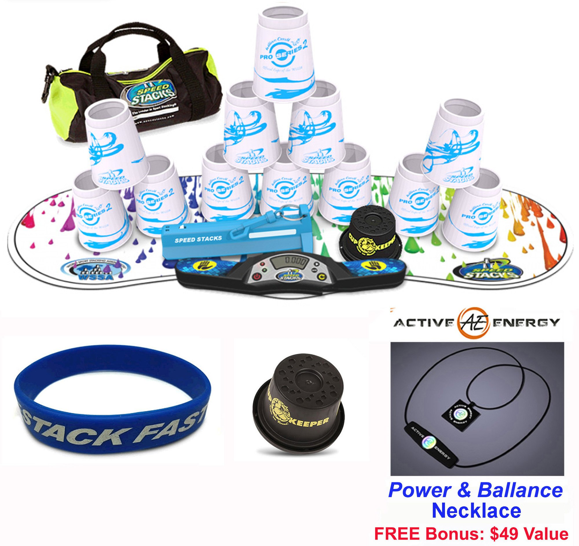 Speed Stacks Combo Set ''The Works'': 12 PRO Series #2 4'' Cups, RAINBOW DROP Gen 3 Mat, G4 Pro Timer, Cup Keeper, Stem, Gear Bag, Speed Stacks Wristband + Active Energy Necklace