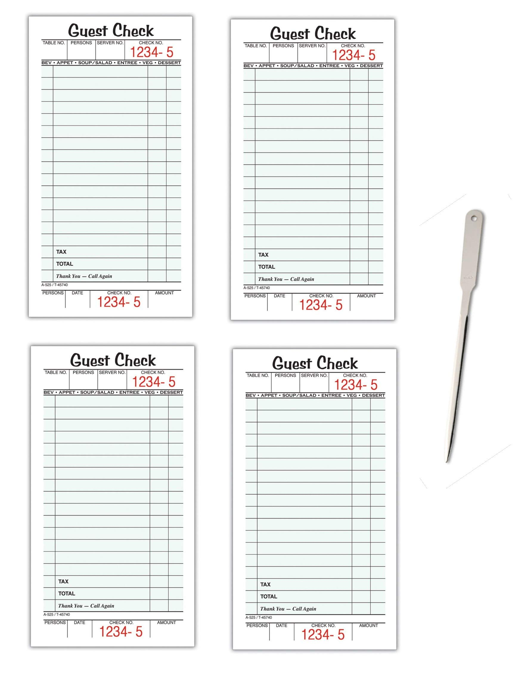 Adams Guest Check Pads, Single Part, Perforated Guest Receipt, 3-2/5'' x 6-1/4'', 50 Sheets per Pad, 40 Pack (525SW) - Bundle Includes Universal Letter Opener