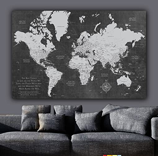 Amazon current push pin world map one panelgallery wrapped art current push pin world map one panelgallery wrapped art world map canvas gumiabroncs