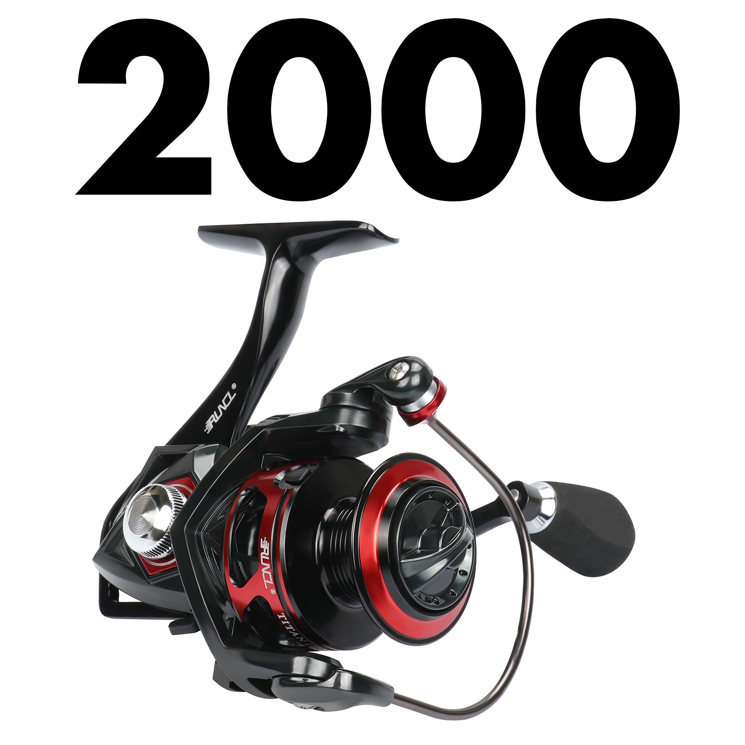 RUNCL Spinning Reel Titan I, Fishing Reel with Full Metal Body, Max Drag 33LB, 5 Carbon Fiber Drag Washers, 9+1 Stainless Steel Shielded Bearings, Hollow Out Rotor for Saltwater and Freshwater (2000) by RUNCL (Image #2)