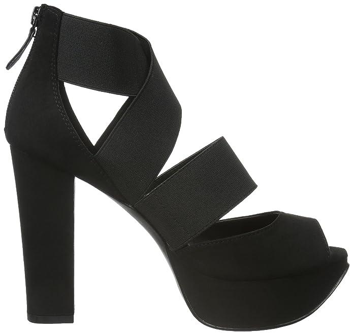 Damen Elastic Strap Sandal 35-48890 Pumps, Schwarz (10/Black), 41 EU Bianco