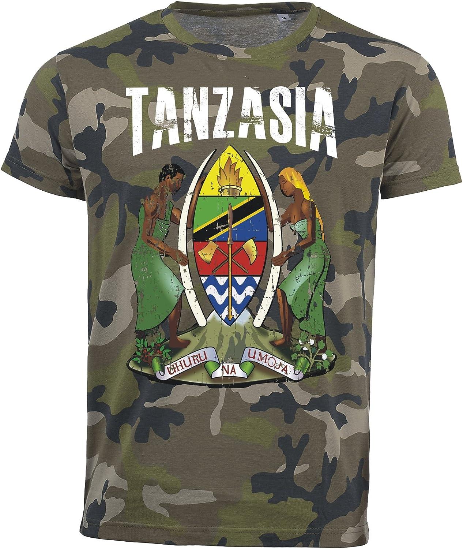 Camiseta Tanzania Camuflaje Army mundial 2018 .- Vintage Destroy Escudo D01: Amazon.es: Ropa y accesorios