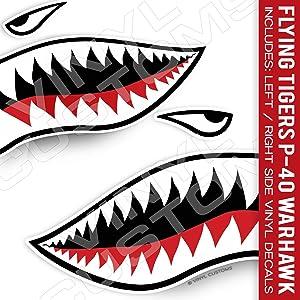 Flying Tigers Shark Mouth Teeth Vinyl Decal Sticker