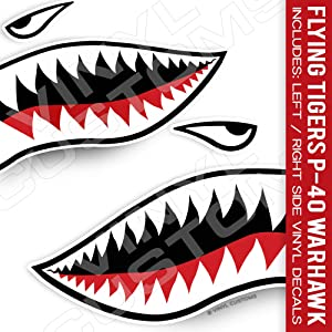 "Flying Tigers Decals Shark Teeth Stickers (30"" inches - 1 Pair)"