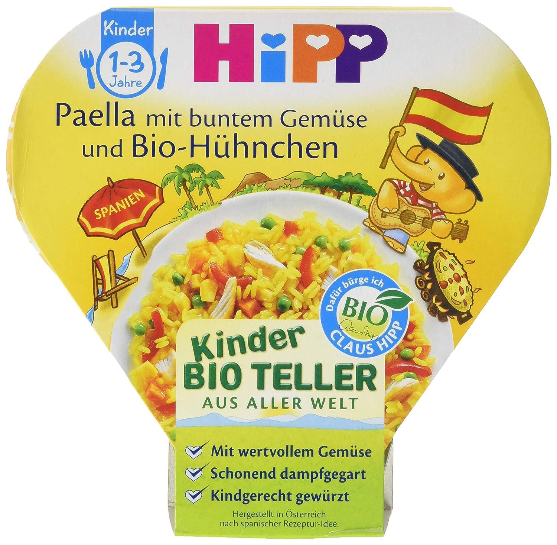 Hipp Paella mit buntem Gemü se und Bio-Hü hnchen, 6er Pack (6 x 250 g) 2242369-6 Baby Bio-Hühnchen Kind Menü