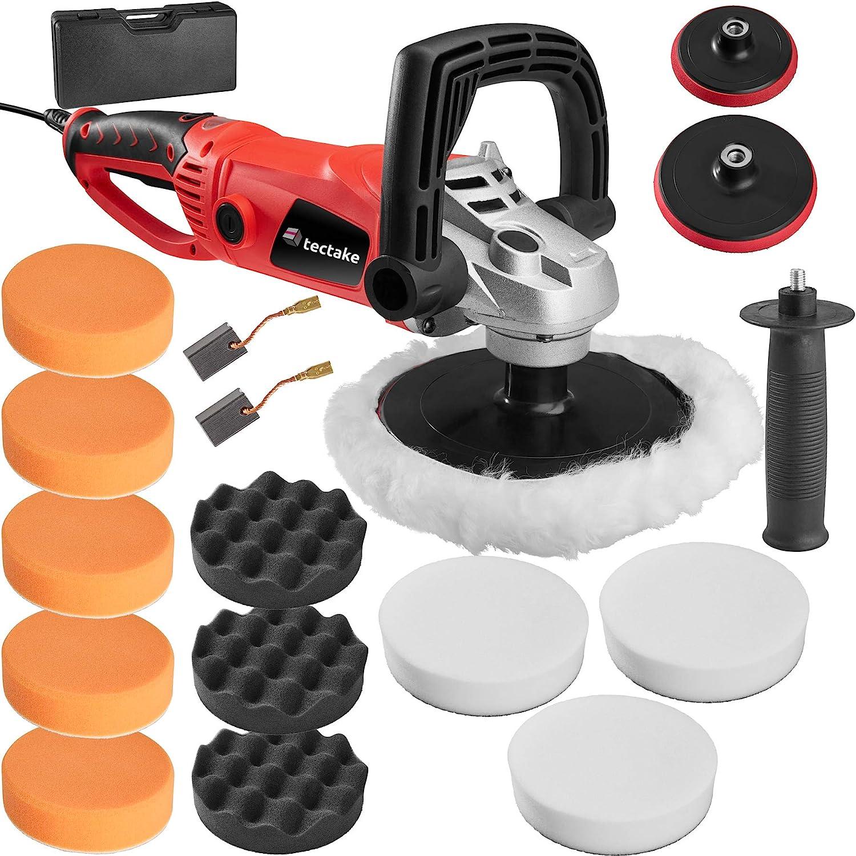 TecTake Máquina de pulir pulidora Limpieza Profesional 1600 vatios + Accesorios Set