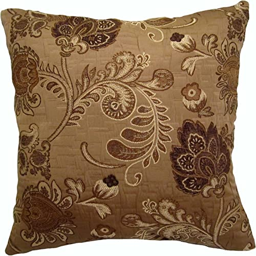 20×20 Shades of Brown Floral Brocade Decorative Throw Pillow Tronco Collection