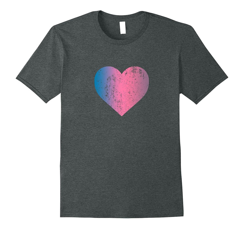 I Love You Blue Pink Purple Heart Distressed Emoji Shirt-Vaci