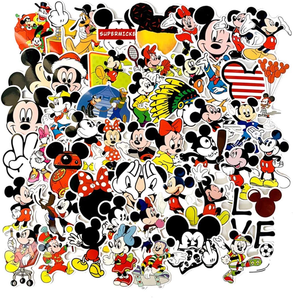 SEBADA 50Pcs Mickey Mouse Stickers for Laptop Motorcycle Bicycle Skateboard Luggage Decal Graffiti Patches[No-Duplicate Sticker Pack] HWJ