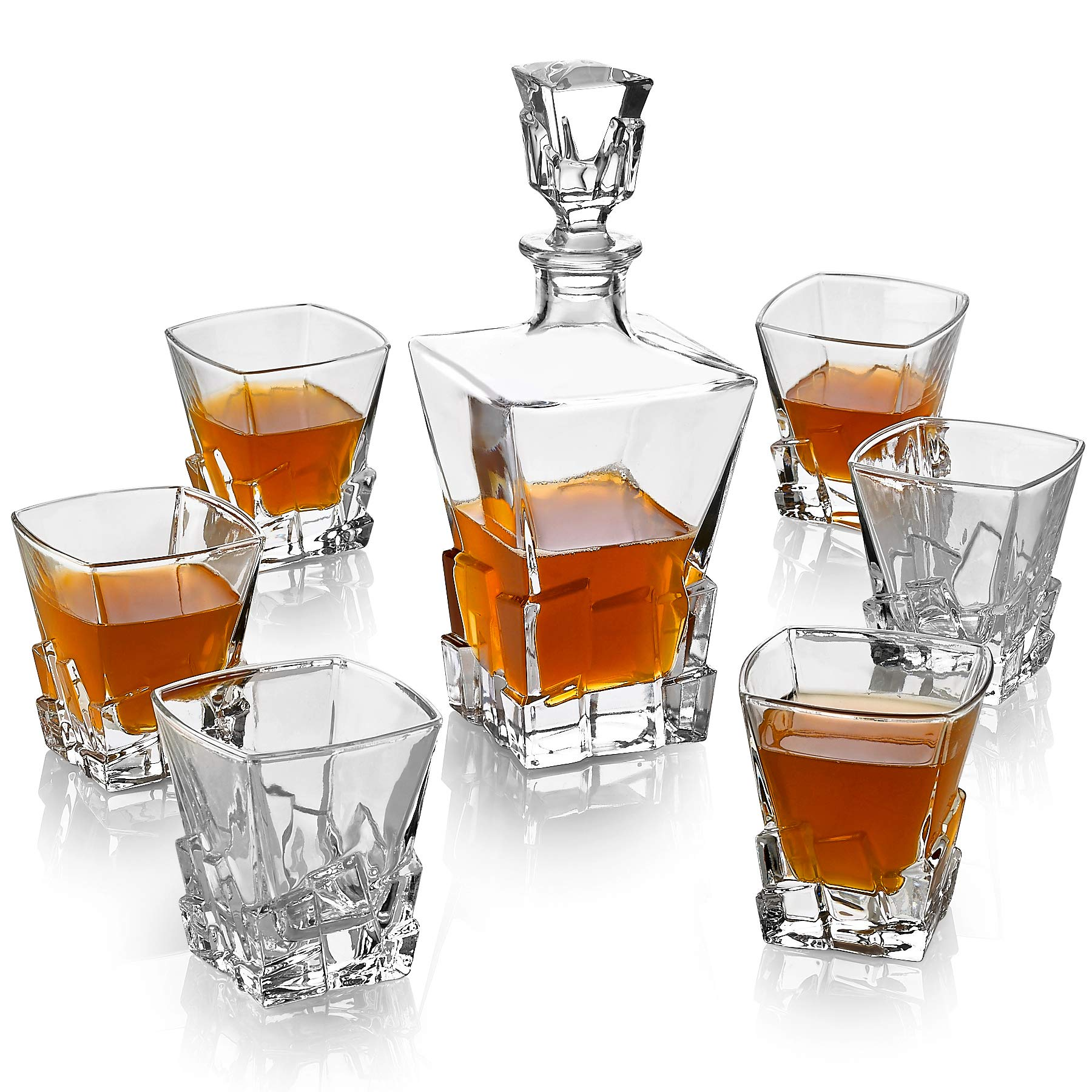 Iceberg 7 Piece Set Includes Decanter and 6 Whiskey Glasses - Old Fashion Ice Shaped Set for Bourbon, Scotch or Whiskey - Perfect Wedding or Anniversary Gift.