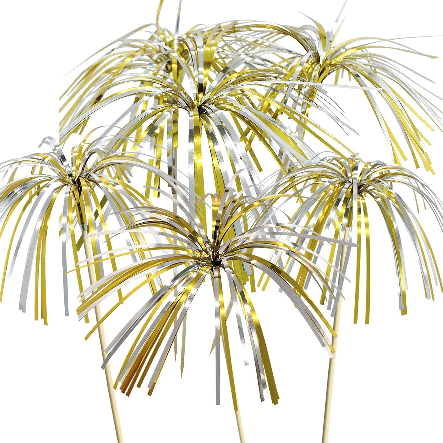 JIUMN Firework Cocktail Picks 100 Counts 4.7 Inch Gold and Silver Firework Picks Bamboo Toothpicks Cocktail Sticks Food Picks Supplies Party Decoration