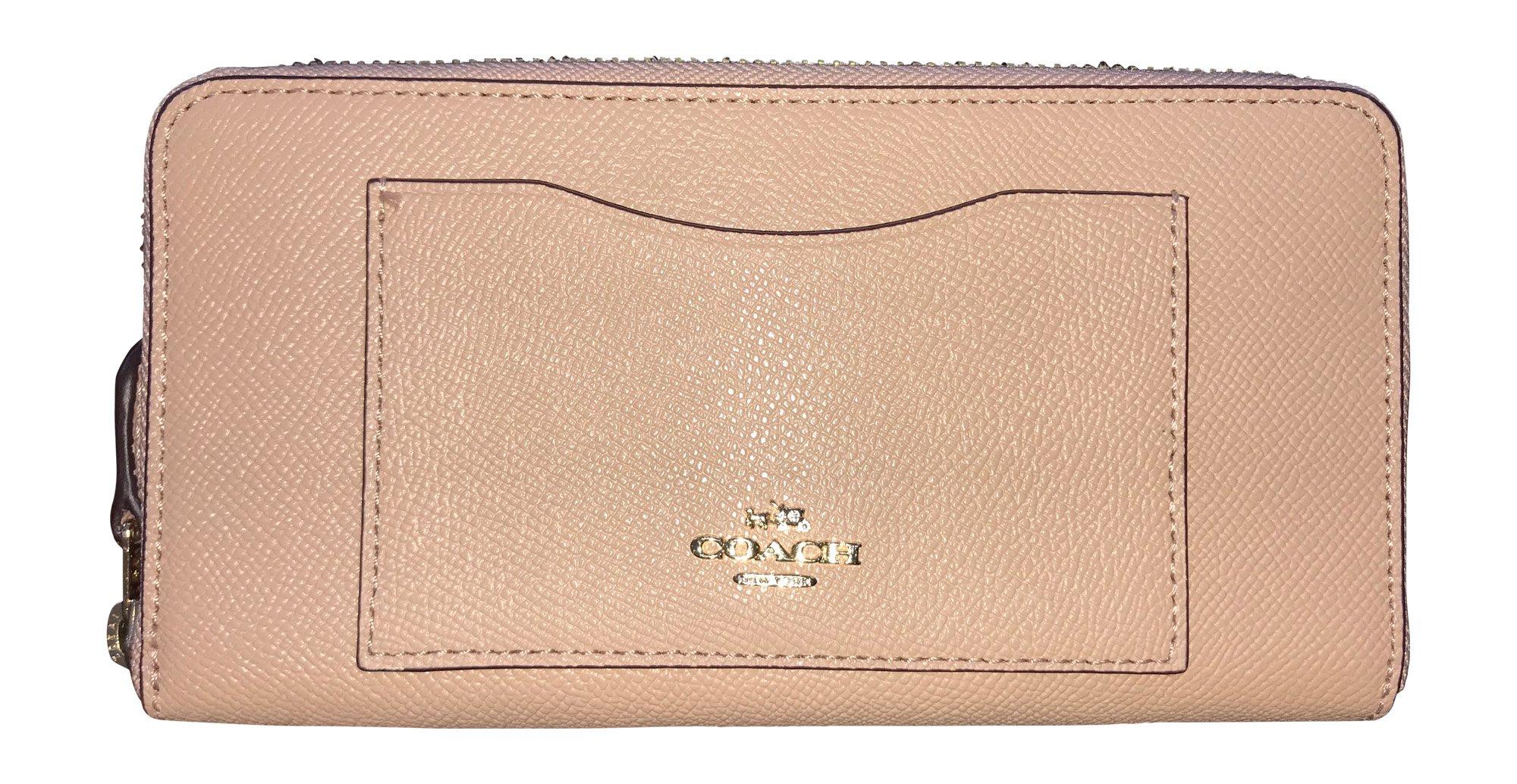 Coach Crossgrain Leather Accordion Zip Wallet, Nude Pink