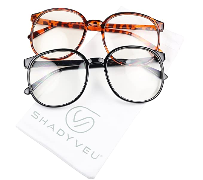 9f14ca8c18 ShadyVEU - Over Size Round Clear Lens Thin Frame Nerd Geek Aviator Eye  Glasses (2
