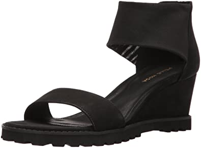 Pelle Moda Women's Ricki-Nu Wedge Sandal, Black, ...