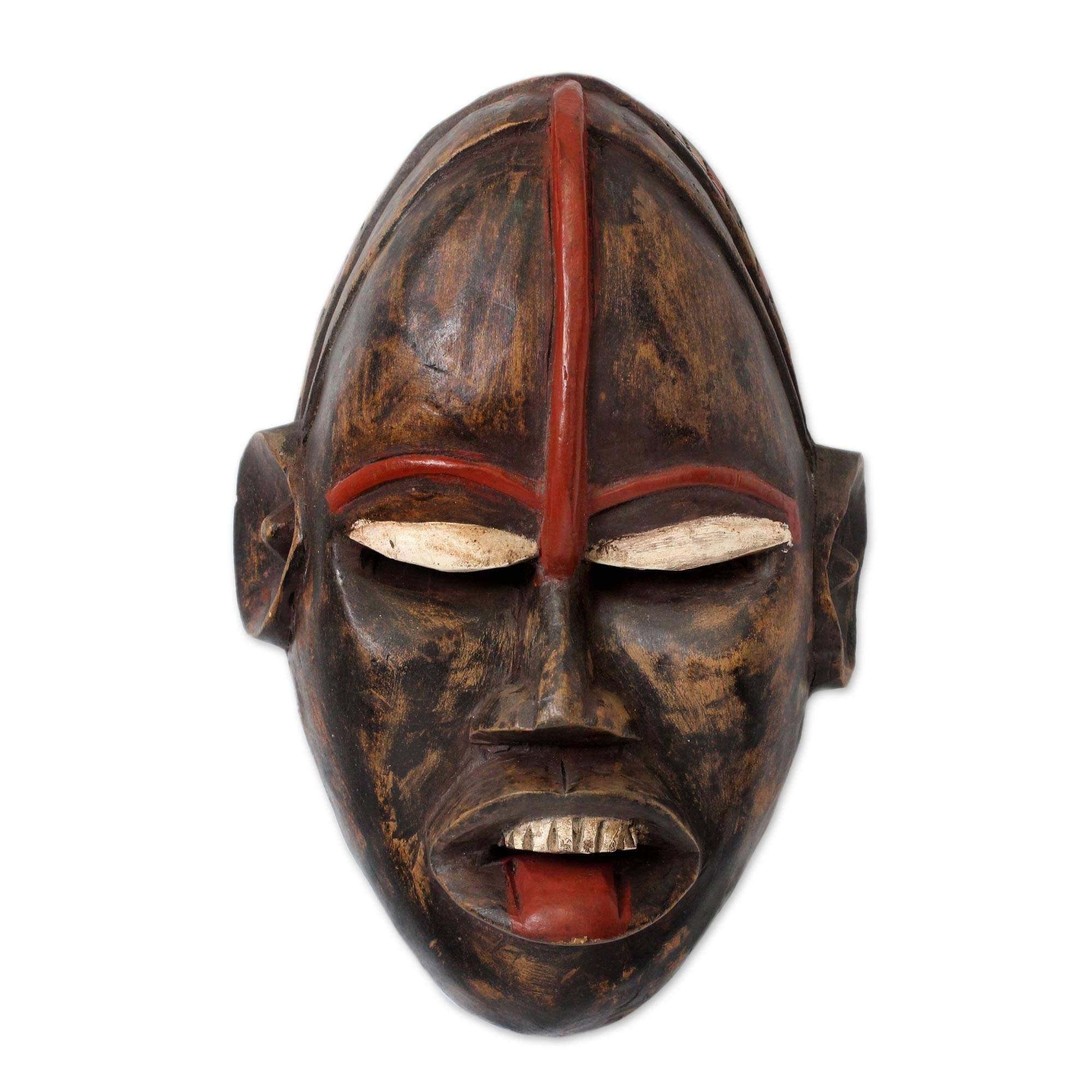 NOVICA 203631'' African Ghost Ghanaian Wood Mask