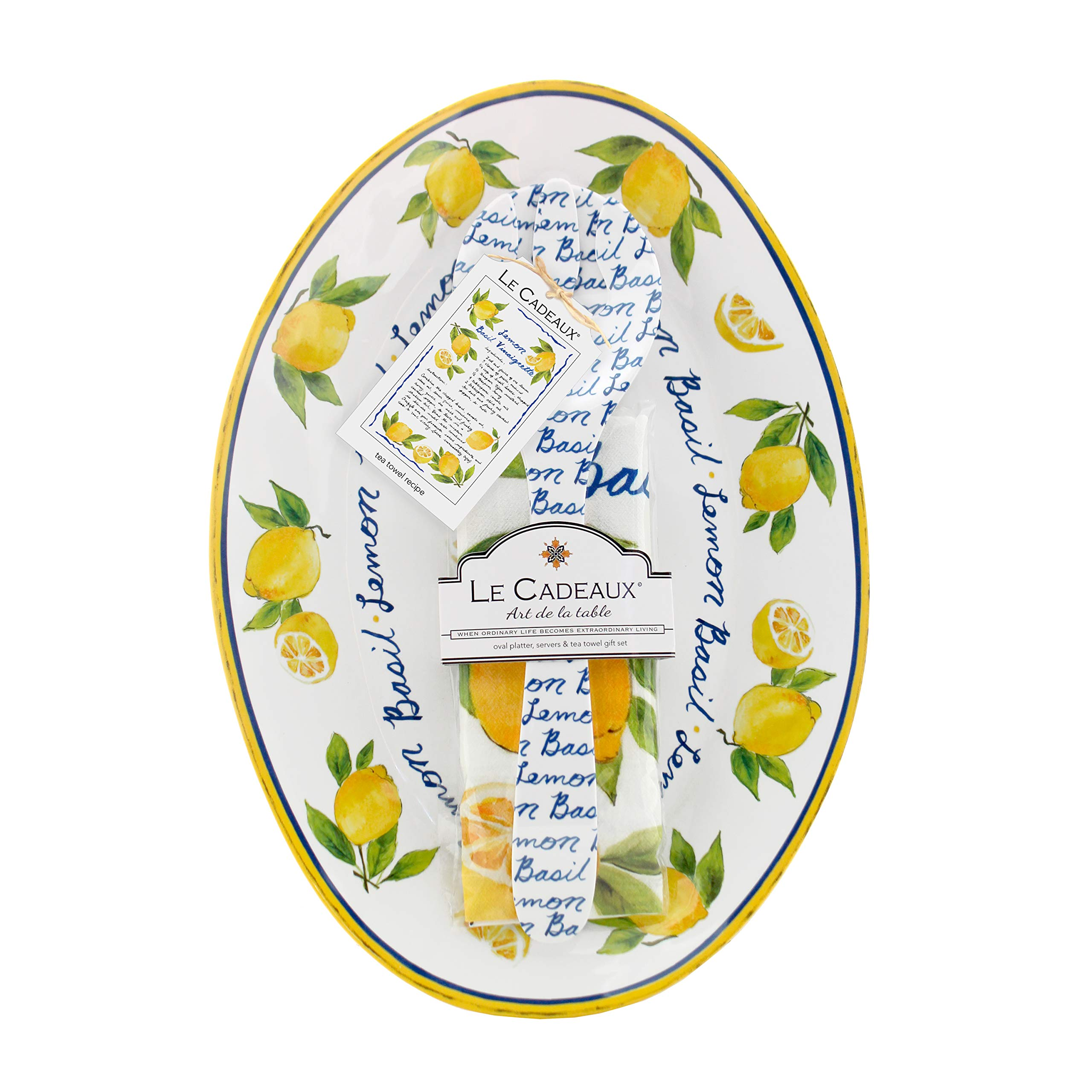 Le Cadeaux Palermo Lemon Basil Melamine 16'' Oval Platter, Salad Servers and Tea Towel Set