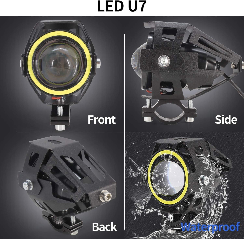 Blanc 2PCS Phares Avant Moto Avec FAISCEAU HAUT//BAS,Universel U7 Moto Feux Additionnels 12V 24V LED Phares Avant Moto Anti Brouillard Projecteur Spot LED Moto avec Interrupteur