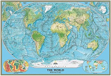 National Geographic World Map Murals.National Geographic S Physical World Map Wall Mural Self Adhesive