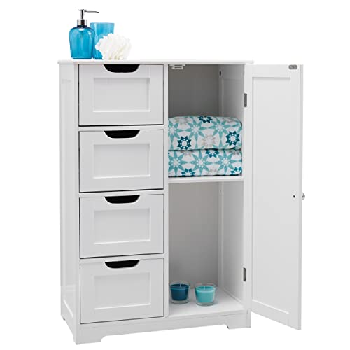 Portland 82x55x30cm White wooden bathroom cabinet four drawers & cupboard; suitable bedroom, hallway, bathroom anyroom