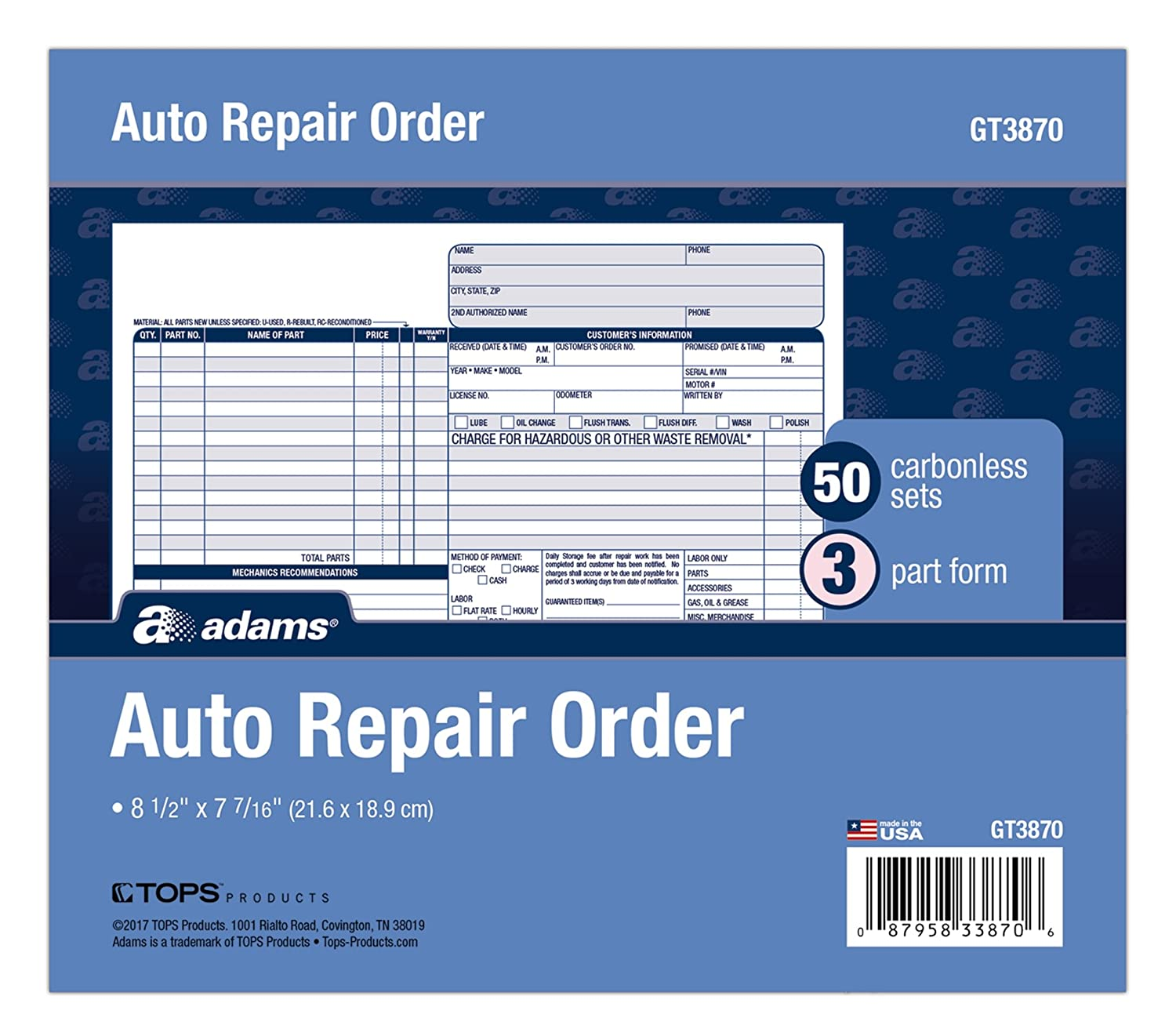 Adams Auto Repair Order Forms, 8.5 x 7.44 Inch, 3-Part, Carbonless, 50-Pack, White and Canary (GT3870) TOPS Business Forms Inc.