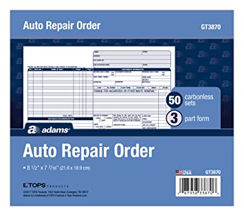 Amazoncom Adams Auto Repair Order Forms X Inch Part - Auto repair invoice software free download online bridal store