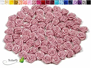 Amazon De 20 Stk Satinrosen 1 5cm Rosen 15mm Stoffrosen Satin