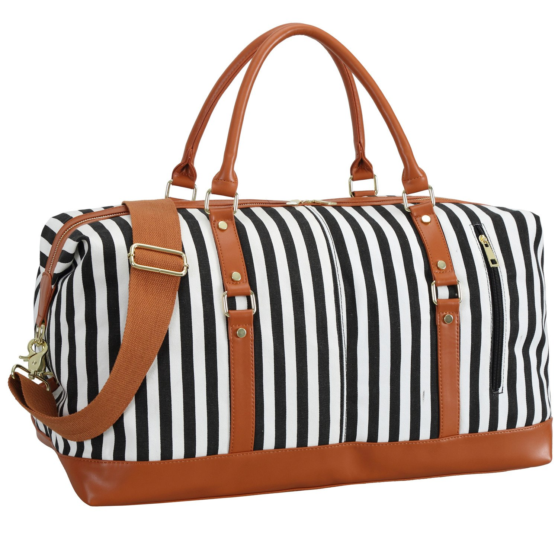 Weekender Overnight Bag Women Mens Duffel Bag Carry-on Travel Tote (Black Stripe)