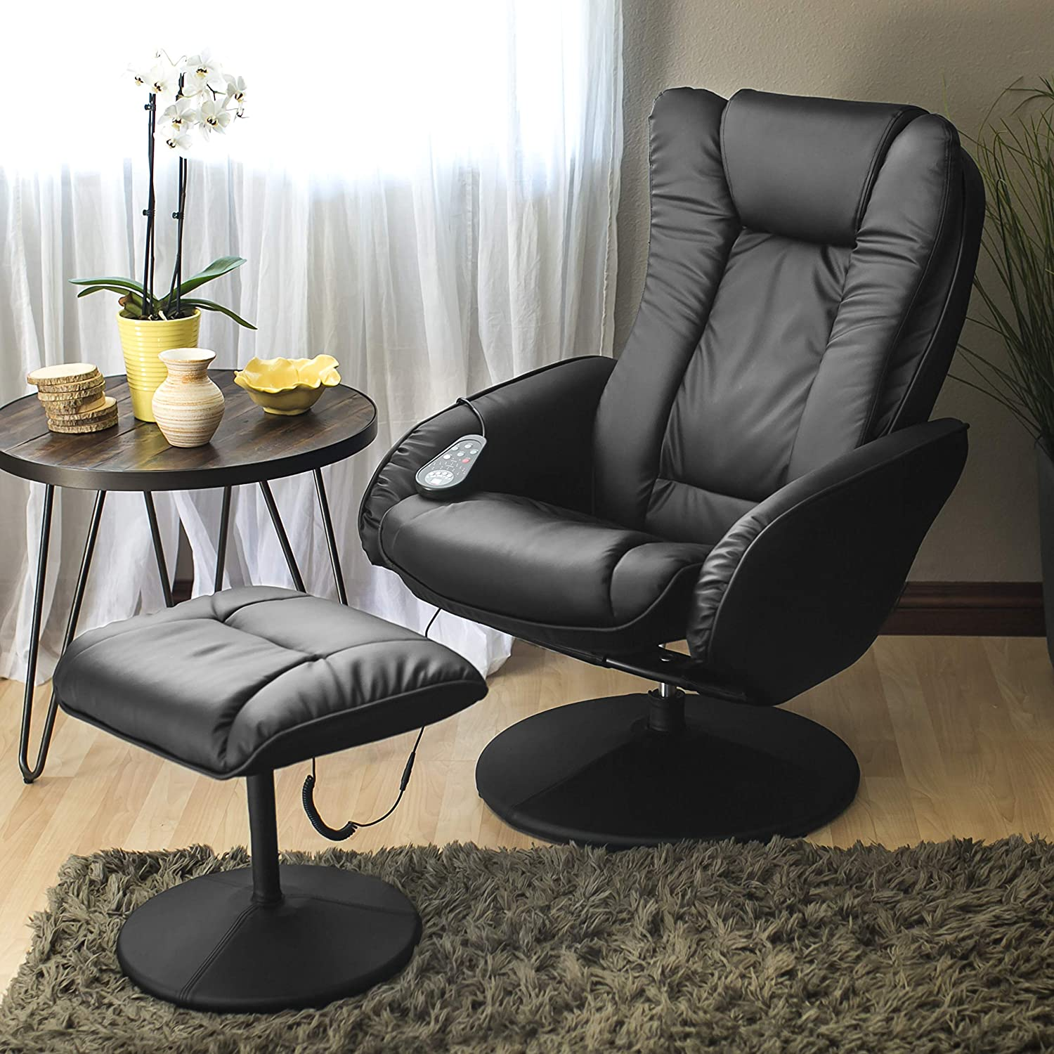 Best Choice Products Faux Leather Massage Recliner Chair w Ottoman, Remote Control, 5 Heat and Massage Modes – Black