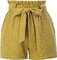 GRACE KARIN Women's Summer Floral Pattern Casual Elastic Waist Belt Decorated Shorts