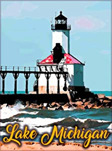 A SLICE IN TIME Lake Michigan Great Lakes Michigan United States Home Collectible Wall Decor Travel Advertisement Art Poster Print. 10 x 13.5 inches