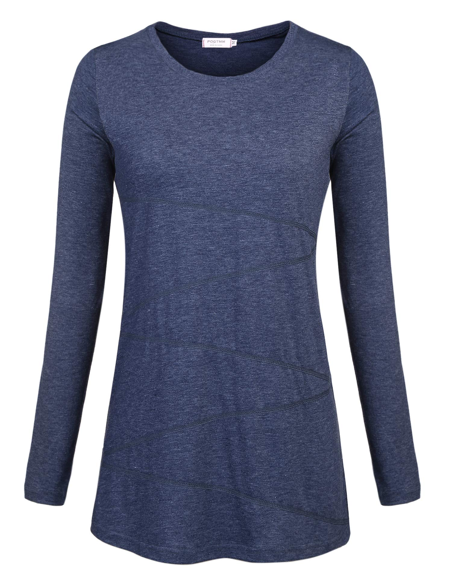 POGTMM Yoga Tops Activewear, Women's Long Sleeve Shirts Round Neck Leisure Comfy Gym Clothes Casual Style High Stretchy Ladies Loose Workout T-Shirt Blouse (ZLong Sleeve-Blue, US XL(16-18))