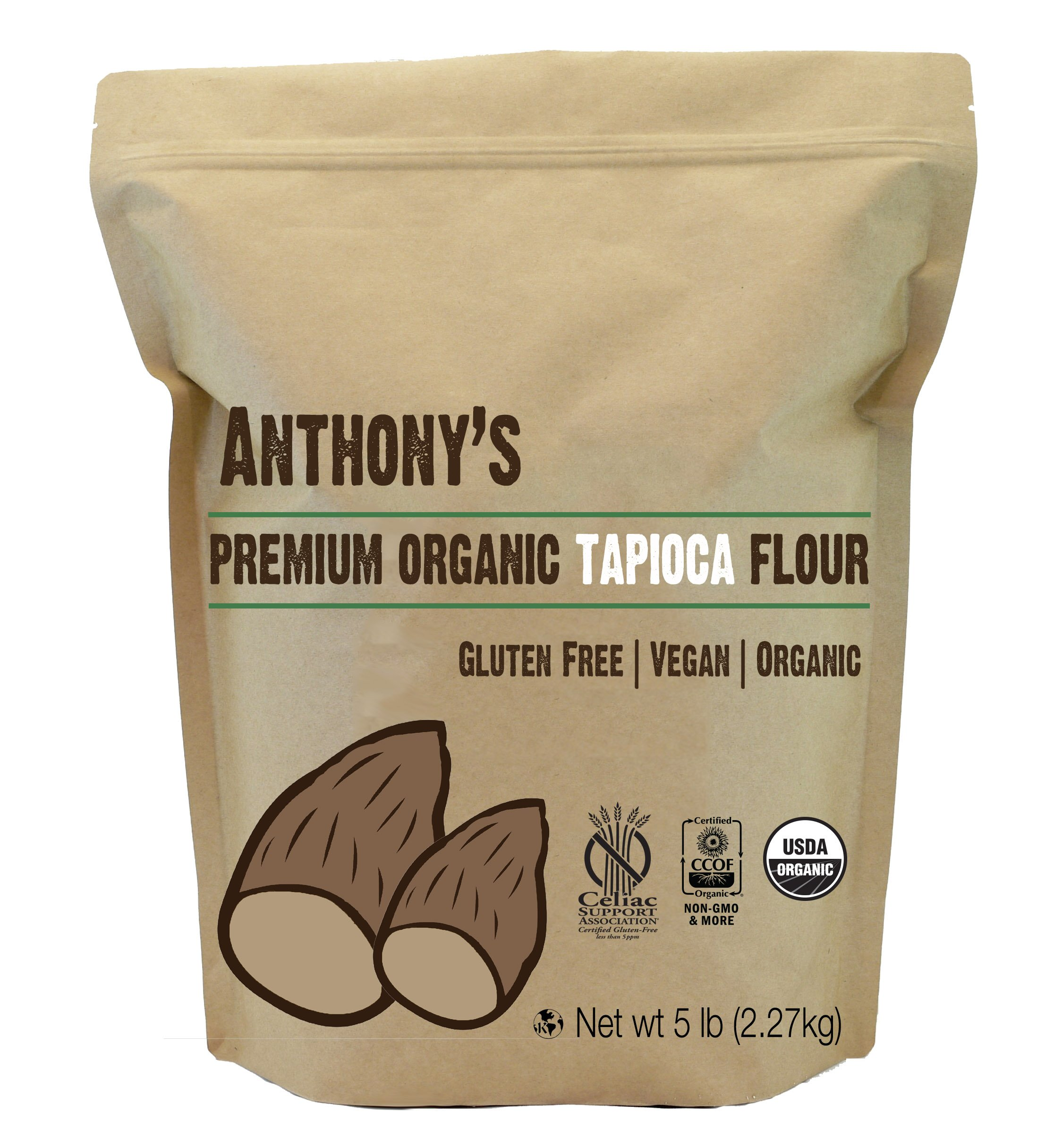 Organic Tapioca Flour / Starch (5 Pounds) by Anthony's, Gluten-Free & Non-GMO