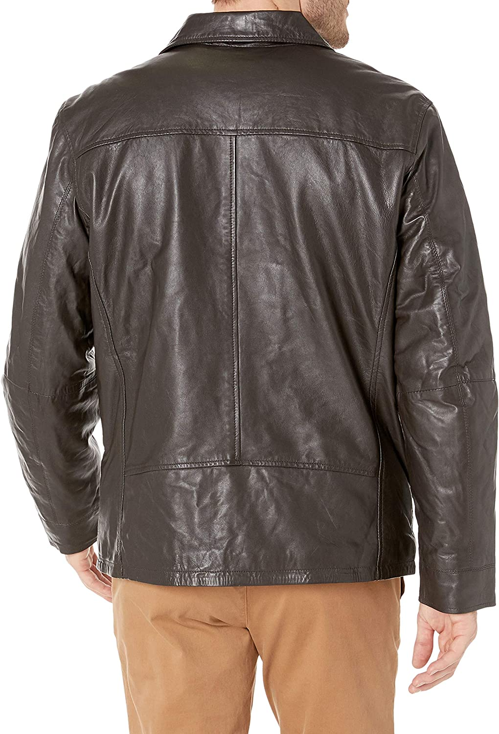 Excelled Mens Shirt Collar Leather Jacket