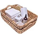 """StorageWorks Hand-Woven Large Storage Baskets with Wooden Handles, Water Hyacinth Wicker Baskets for Organizing, 15"""" x 10.6"""""""