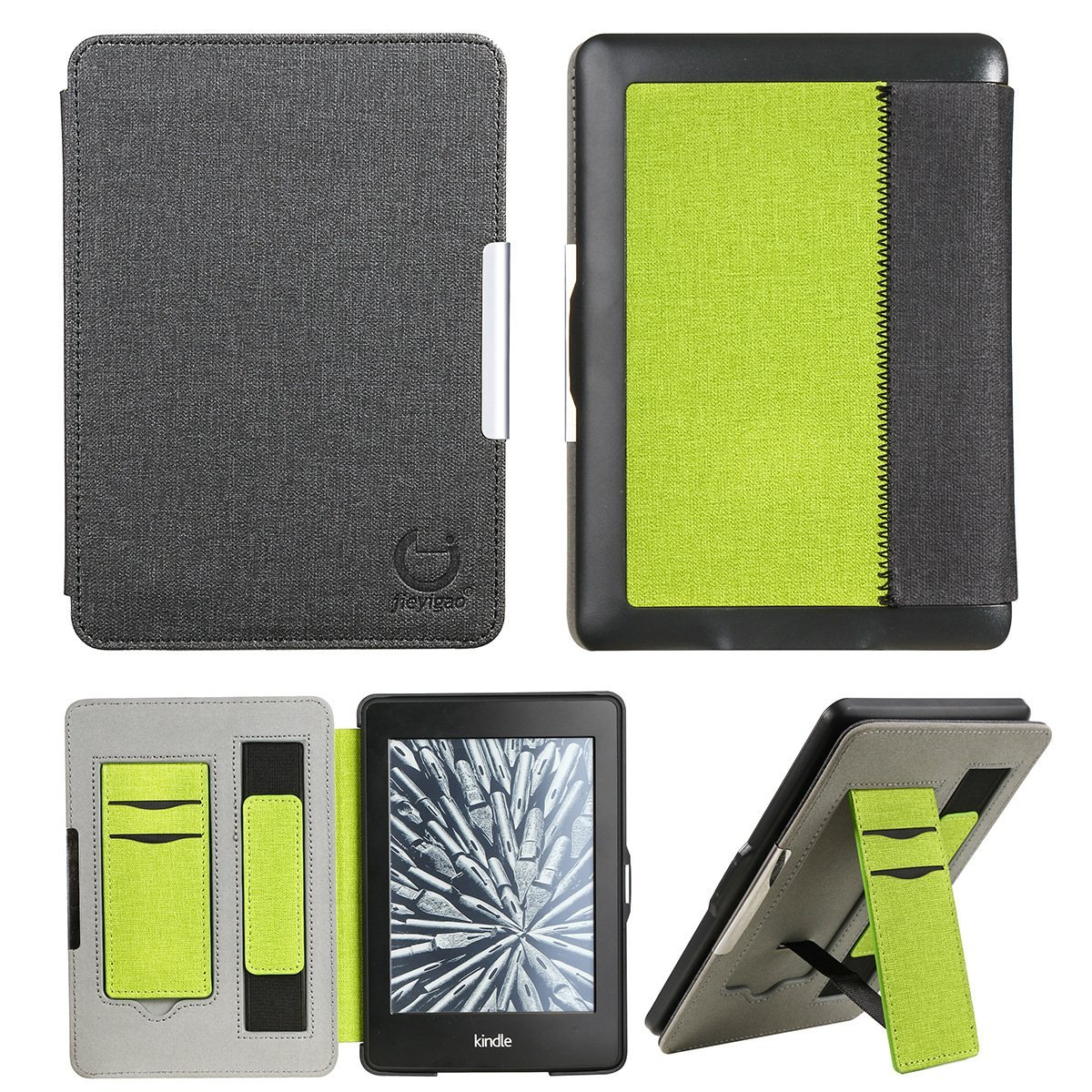 For Amazon Kindle Paperwhite Case Cover, DMaos PU Leather Smart Cover Hand Holding Belt Design Stand Magnetic Closure Auto Wake/Sleep Function - Black & Green