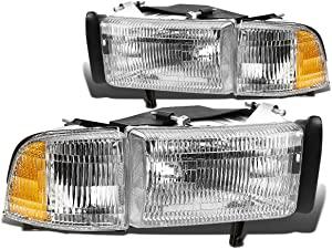 Clear Lens OE Replacement Headlight+Corner Light Lamp Replacement for Dodge Ram BR/BE 1500 2500 3500 w/o Sport 1994-2001