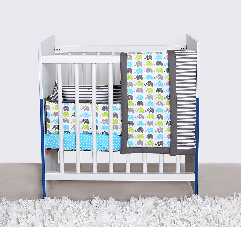 Amazon Com Bacati Elephants Portable 3 Piece Crib Bedding