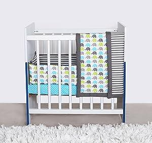 Bacati Elephants Portable 3-Piece Crib Bedding Set, Aqua/Lime/Grey