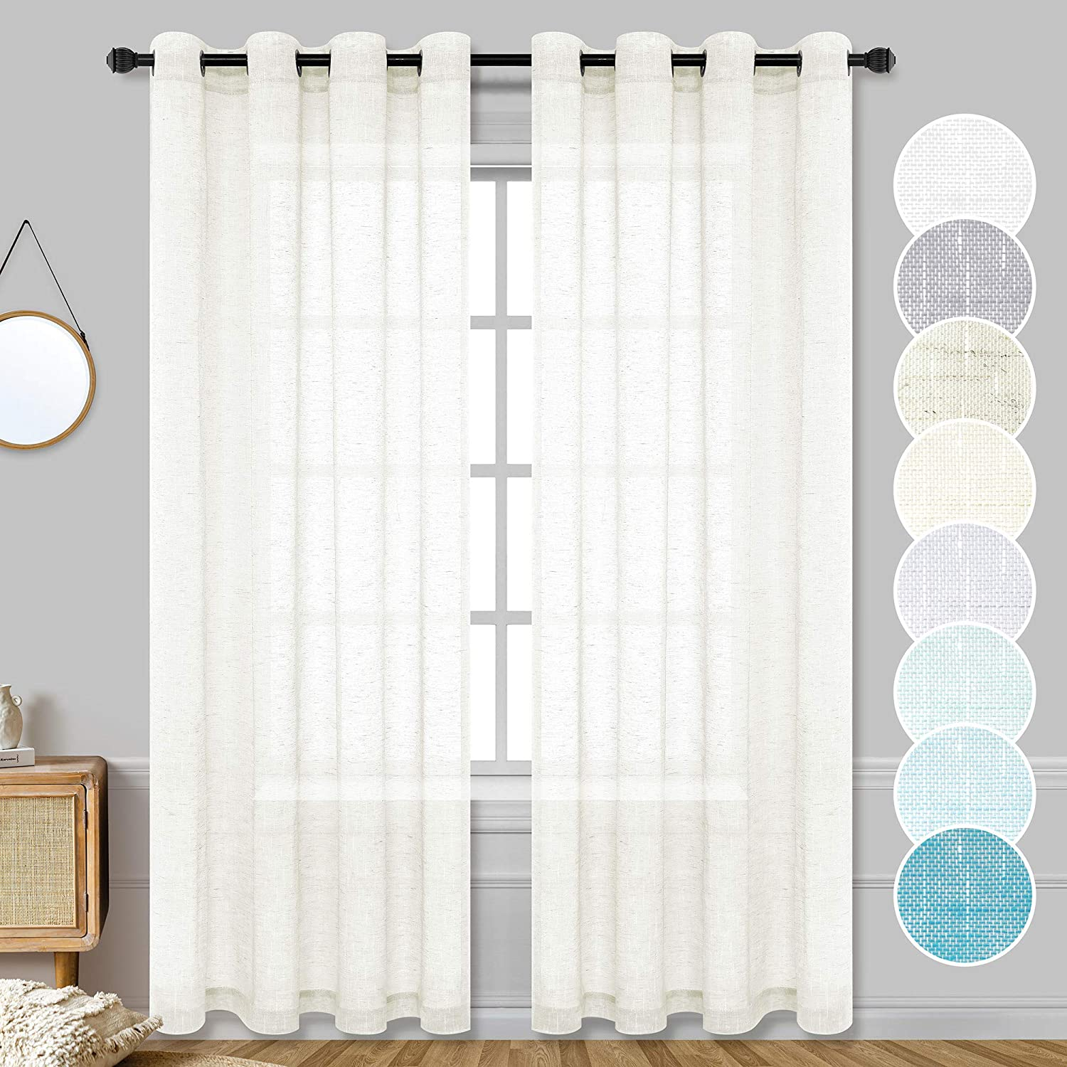 Ivory Sheer Curtains 95 Inches Long for Dining Room 2 Pack Grommet Light Filtering Privacy Semi Sheer Faux Linen Curtains for Living Room Bedroom Windows Kitchen Entry door Home Decor Accents 52 Width