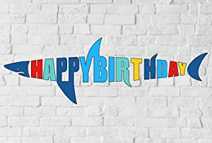 Shark Birthday Banner, Shark Shape Happy Bday Sign, Ocean Beach Under The Sea Theme Party Decoration